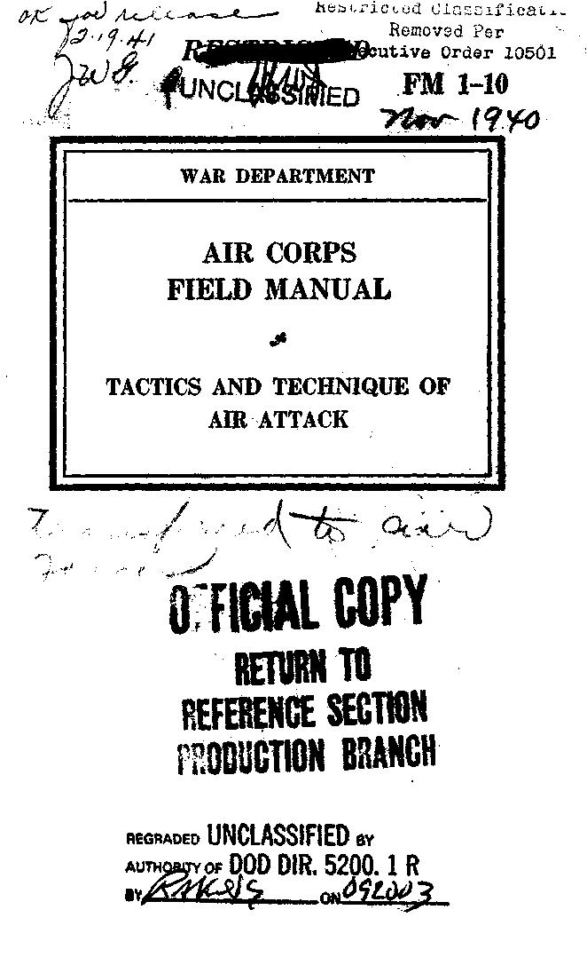 United States. War Department - FM 1-10 Tactics and Technique of Air Attack