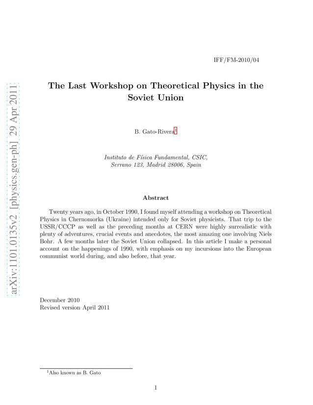 Beatriz Gato-Rivera - The Last Workshop on Theoretical Physics in the Soviet Union
