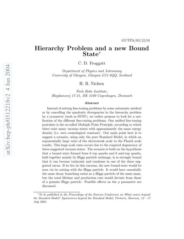 C. D. Froggatt - Hierarchy Problem and a new Bound State