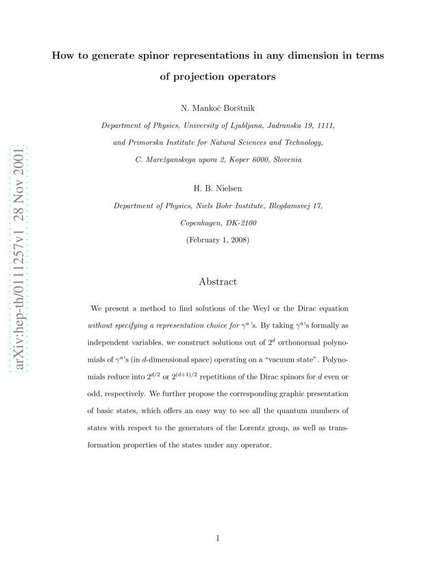 N. S. Mankoc Borstnik - How to generate spinor representations in any dimension in terms of projection operators