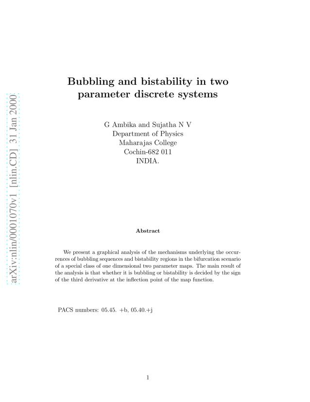 G. Ambika - Bubbling and bistability in two parameter discrete systems